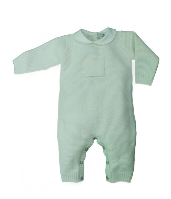 Ivory knit baby grow with pocket design
