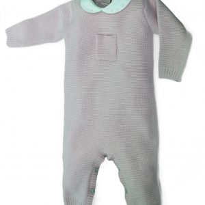 Pink knit baby grow with pocket design