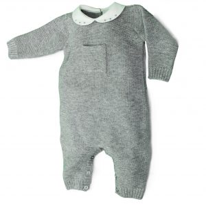 Grey knit baby grow with pocket design