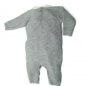 Grey knit baby grow back