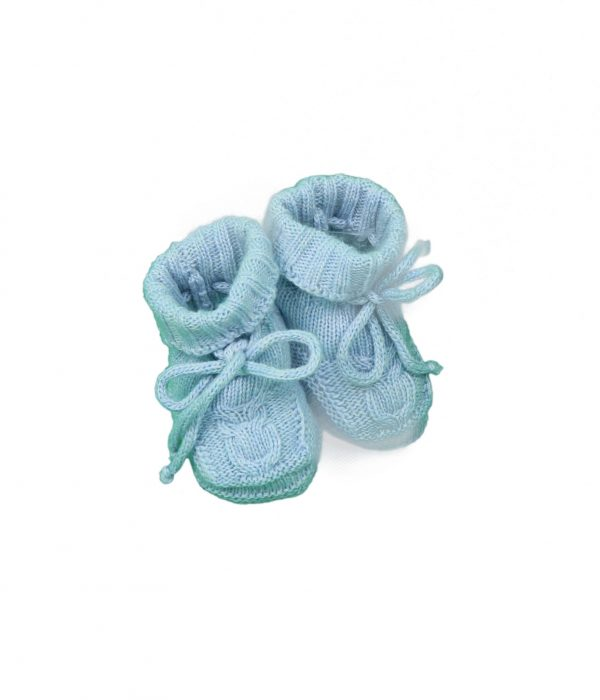 Baby booties cable knit in blue