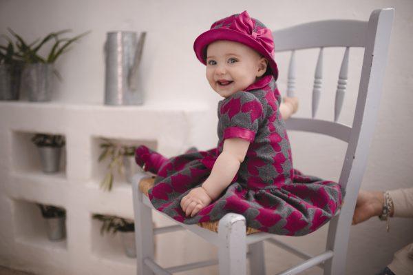 Pink and grey wool dress with peter pan collar