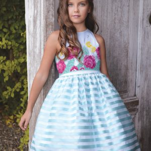 Aqua blue stripped puff ball dress with floral detail