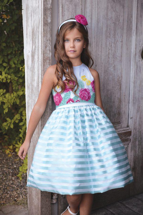 Aqua blue stripped puff ball dress with floral detail