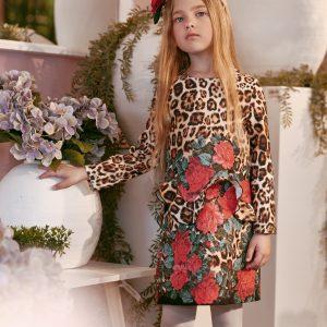 Petit girls dress leopard pint with roses