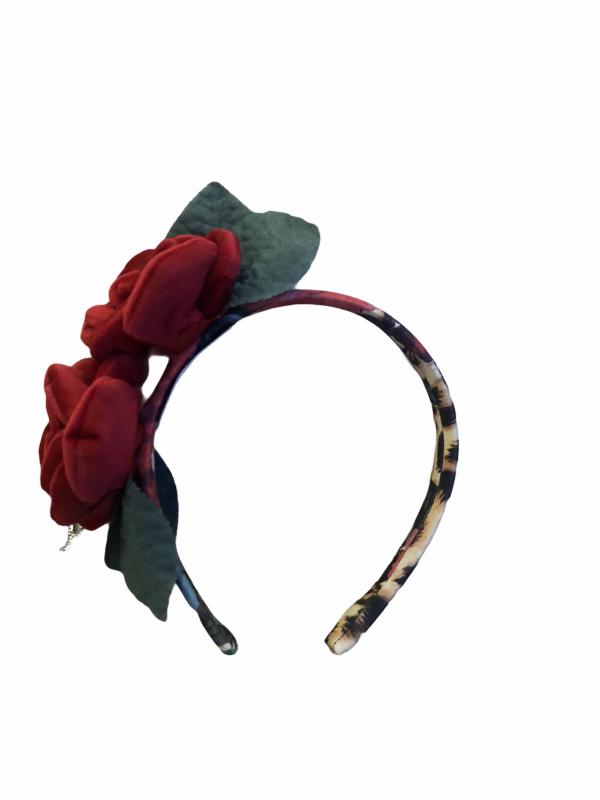 Leopard print rose hairband