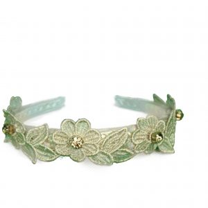Gold floral lace hairband side