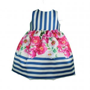 Baby dress cobalt blue with fuchsia pink flowers