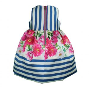 Baby dress cobalt blue with pink zip back