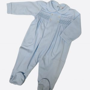 Smocked baby grow in baby blue