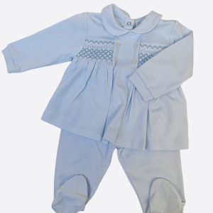 Smocked baby grow in baby blue two piece Petit