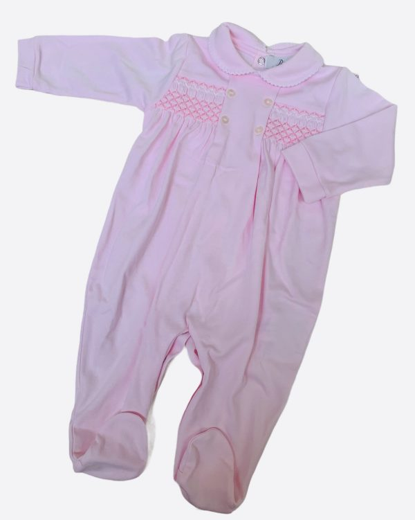 Smocked baby grow in baby pink
