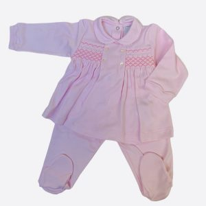 Smocked baby grow in baby pink two piece Petit