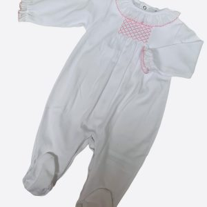 Smocked baby grow in baby pink and white Petit